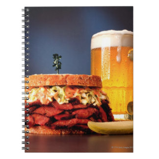 Pastrami sandwich with mug of beer spiral notebook