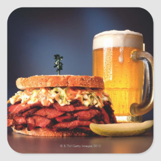 Pastrami sandwich with mug of beer square sticker