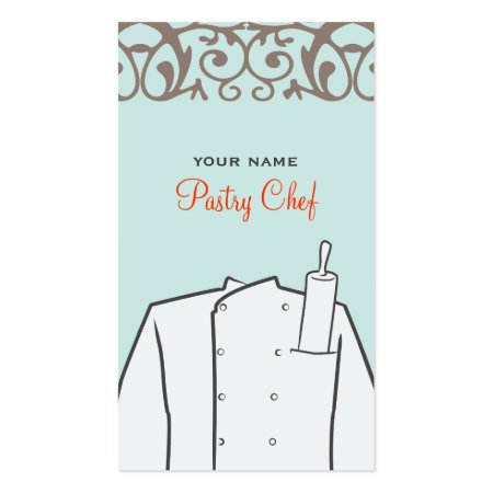 Pastry Chef's Coat and Rolling Pin Baker Business Cards