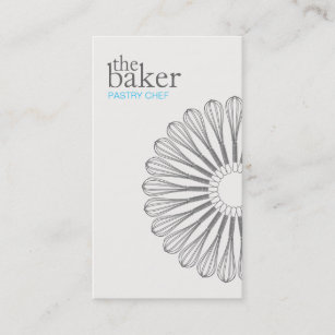 Pastry chef business cards templates zazzle pastry chef baking whisk modern catering business card colourmoves