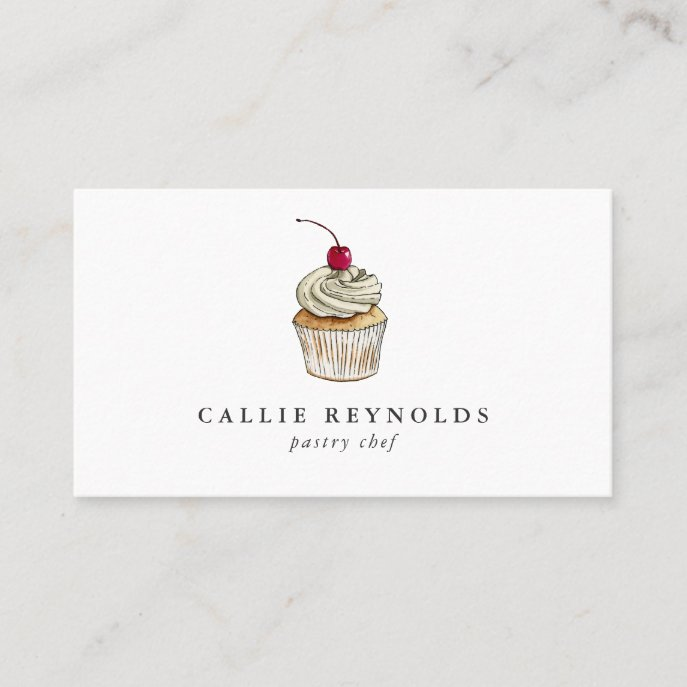 Pastry Chef Cupcake Whipped Cream Bakery Business Card