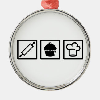 Pastry chef metal ornament
