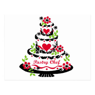 Pastry Chef on Cake Postcards