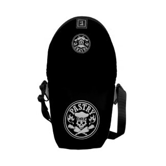 Pastry Chef Skull and Crossed Pastry Bags Black Courier Bag