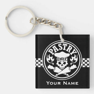 Pastry Chef Skull and Crossed Pastry Bags Black Keychain