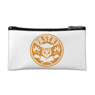 Pastry Chef Skull and Crossed Pastry Bags: Orange Makeup Bags