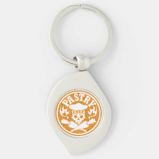 Pastry Chef Skull and Crossed Pastry Bags: Orange Keychain