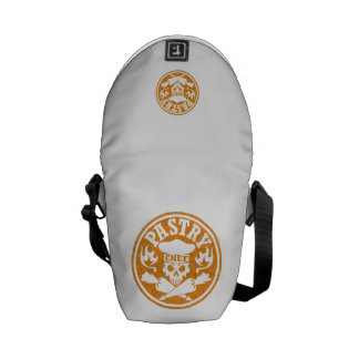 Pastry Chef Skull and Crossed Pastry Bags: Orange Messenger Bag