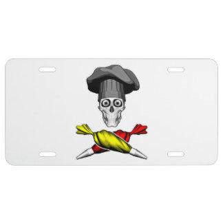 Pastry Chef Skull License Plate