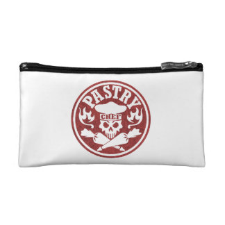 Pastry Chef Skull Red Cosmetic Bags