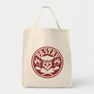 Pastry Chef Skull Red Grocery Tote Bag