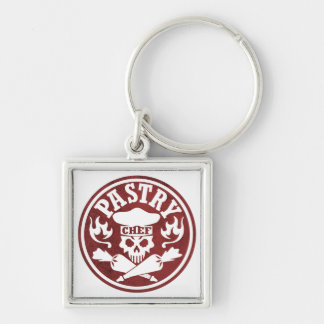 Pastry Chef Skull Red Keychain