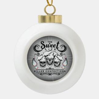 Pastry Chef Skulls: The Sweet Life Ceramic Ball Christmas Ornament