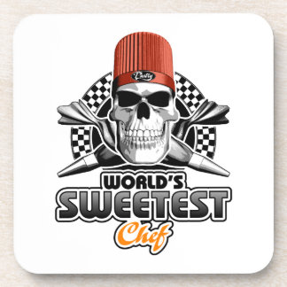 Pastry Chef: Sweet Chef (B&W) Beverage Coaster