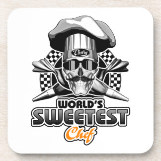 Pastry Chef: Sweetest Chef (B&W) Coaster