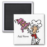 Pastry Chef With Cake Baking Customized Add Name 2 Inch Square Magnet