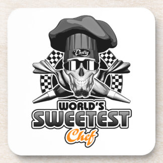 Pastry Chef: World's Sweetest Chef (B&W) Coaster