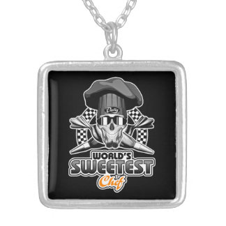 Pastry Chef: World's Sweetest Chef (B&W) Silver Plated Necklace