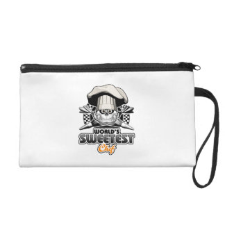Pastry Chef: World's Sweetest Chef v4 (B&W) Wristlet Purse