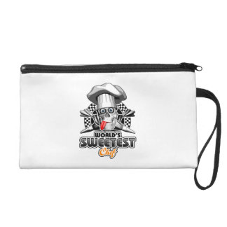 Pastry Chef: World's Sweetest Chef v5 (B&W) Wristlet