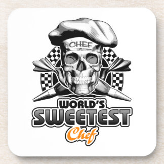 Pastry Chef: World's Sweetest Chef v6 (B&W) Coaster