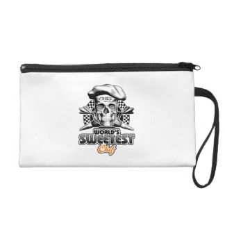 Pastry Chef: World's Sweetest Chef v6 (B&W) Wristlet