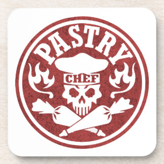 Pastry Skull Red Beverage Coaster