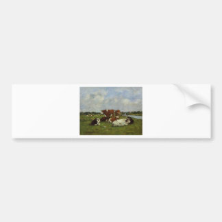 Pasturage on the Banks of the Touques by Eugene Bo Car Bumper Sticker