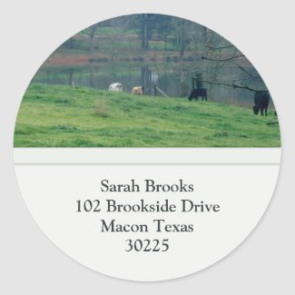 Pasture Address Label Round Sticker