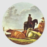Pasture By Cuyp Aelbert Classic Round Sticker