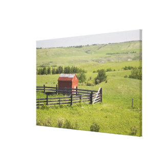 Pasture Fields With A Red Shack And A Fenced Area Canvas Print