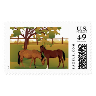 Pasture Horses Stamp
