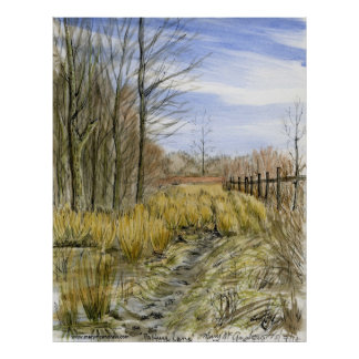 """Pasture Lane in Early March"" watercolor landscape Poster"