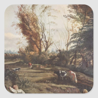 Pasture with two Shepherdesses by Jan Siberechts Sticker