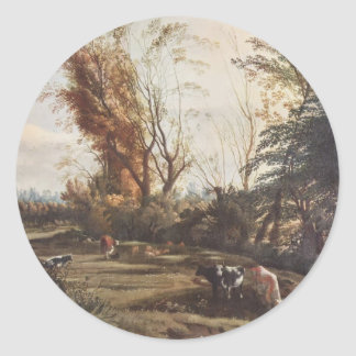 Pasture with two Shepherdesses by Jan Siberechts Round Sticker