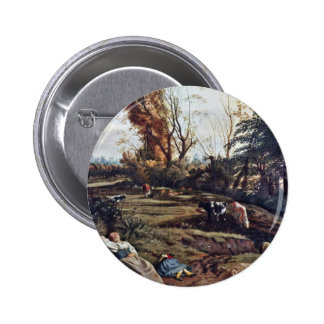 Pasture With Two Sleeping Shepherdesses By Siberec Pinback Buttons