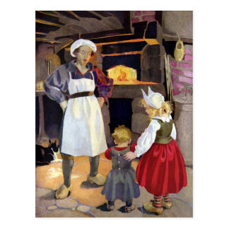 Pat-A-Cake Baker and Children Nursery Rhyme Postcard