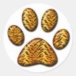 Pata #1 del tigre pegatina redonda