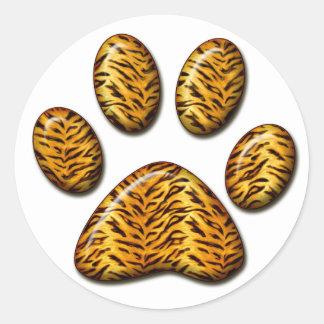 Pata #1 del tigre pegatinas redondas