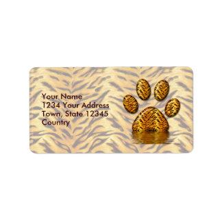 Pata #2 del tigre etiquetas de dirección