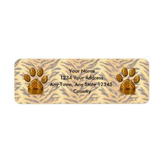 Pata #2 del tigre etiqueta de remite
