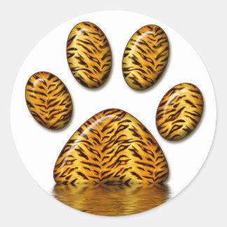 Pata #2 del tigre pegatina redonda