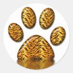 Pata #2 del tigre pegatinas redondas