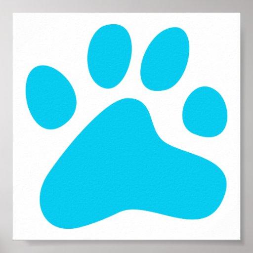 Pata azul del perro impresiones