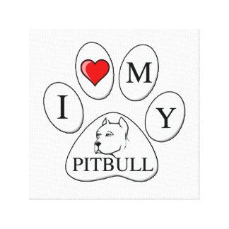PATA - corazón de I mi pitbull - perros del amor Impresiones En Lienzo Estiradas
