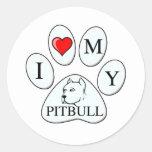 PATA - corazón de I mi pitbull - perros del amor Etiquetas Redondas