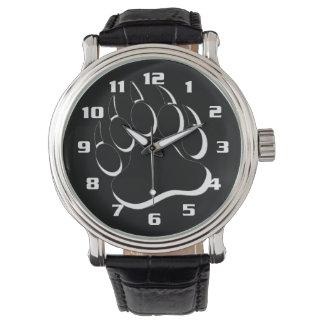 Pata de oso blanco y negro del orgullo del oso relojes
