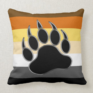 Pata de oso de la bandera del orgullo del oso cojín