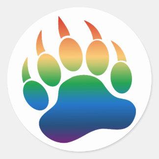Pata de oso del arco iris de la pendiente /Claw - Pegatina Redonda