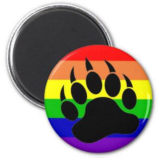 Pata de oso del orgullo gay imán redondo 5 cm